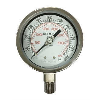 Bourdon Tube Pressure Gauge 316L ss Wetted Part 100mm 0~5000psi NACE