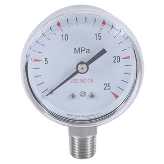 Bourdon Tube Pressure Gauge ss Case 50mm 0~25Mpa use no oil