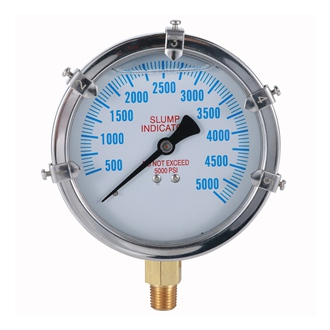 Bourdon Tube Pressure Gauge Slump Indicator 0-5000psi