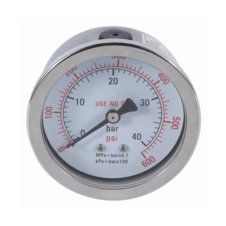 Bourdon Tube Pressure Gauge ss Case 50mm 0~40bar Back Mount