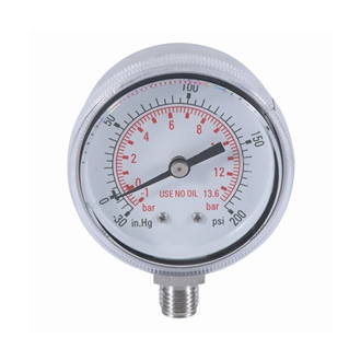 Bourdon Tube Pressure Gauge ss Case 50mm -1bar~200psi